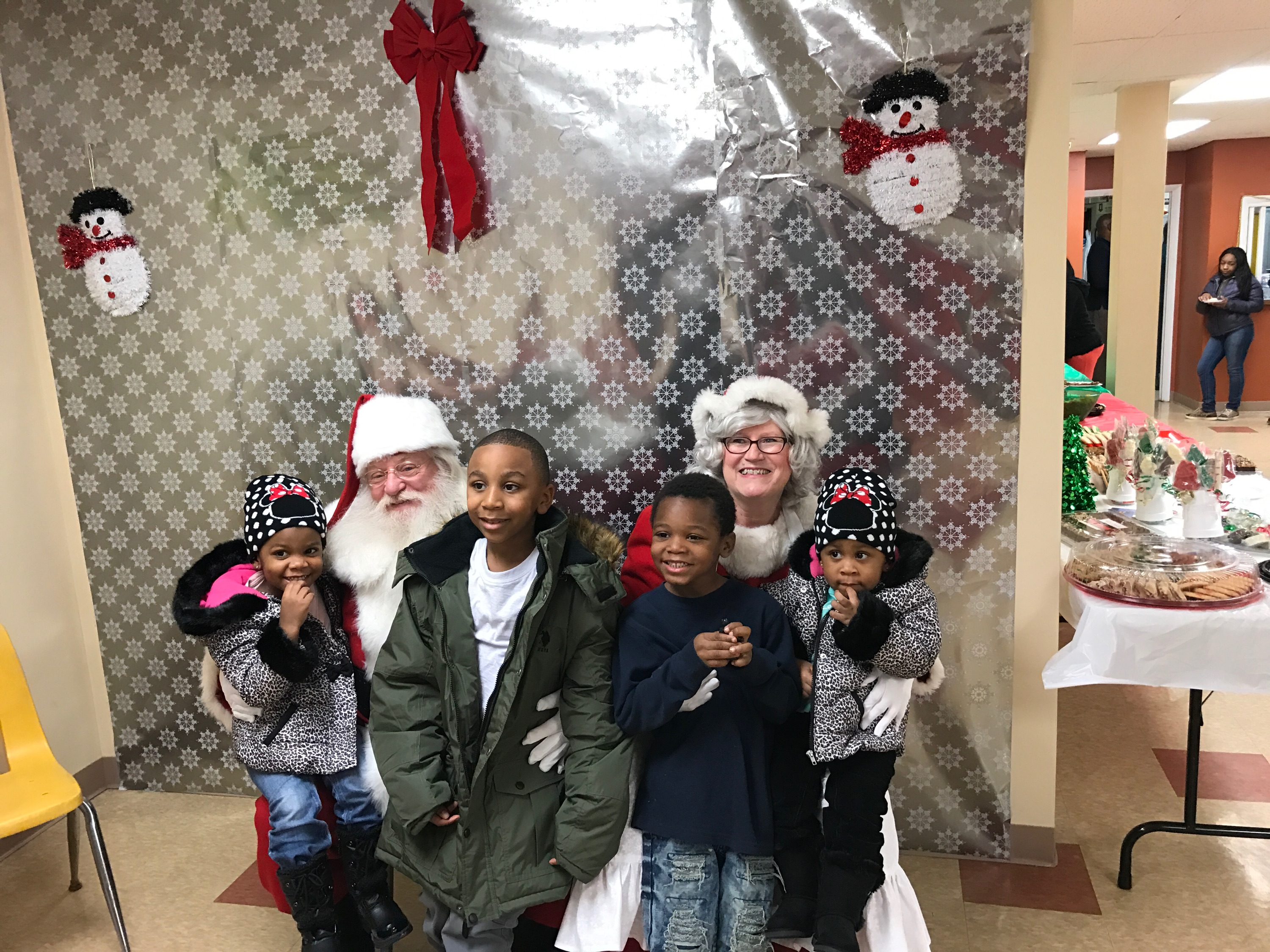 Four Kids With Santa